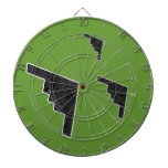 B2 Stealth Bomber Silhouette Formation Dartboard With Darts