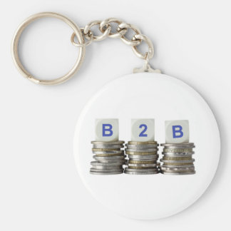 B2B - Business to Business Basic Round Button Keychain