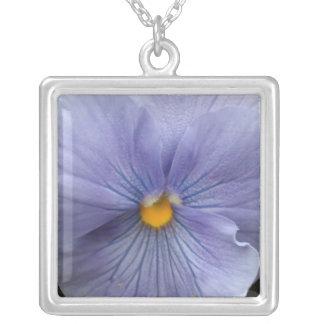 b4 Pale Blue Pansy Square Pendant Necklace