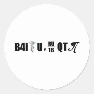 B4i screw U RU over 18 QT pi Classic Round Sticker
