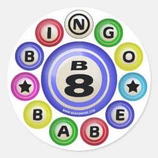 B8 Bingo Babe Round Stickers