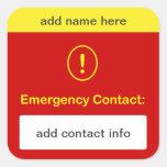 b9 - MODIFIQUE ESTE contacto de la emergencia para Pegatinas Cuadradases Personalizadas