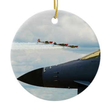 B-1 Bomber and WWII Fighters Ceramic Ornament