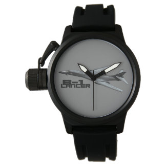 B-1 Lancer Crown Protector Black Rubber Wristwatch