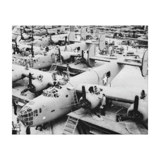 B-24 Bomber Assembly Line, 1943 Stretched Canvas Print