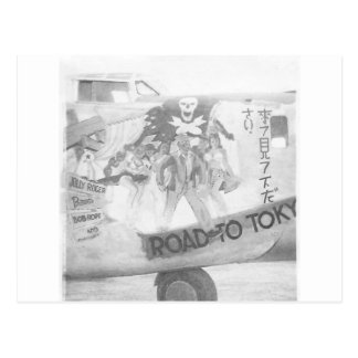 "B-24 bomber nose art titled ""Road to Tokyo"" Postcard"
