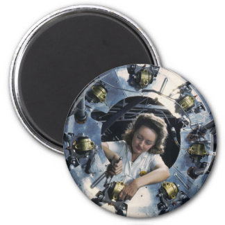 B-25 Bomber Engine Lady, 1942 2 Inch Round Magnet