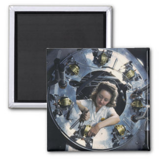 B-25 Bomber Engine Lady, 1942 2 Inch Square Magnet