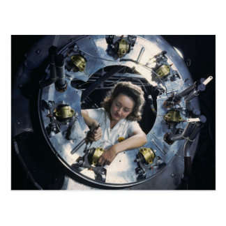 B-25 Bomber Engine Lady 1942 Post Card