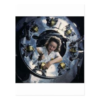 B-25 Bomber Engine Lady, 1942 Postcard