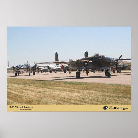 B-25 Mitchell Bombers on runway Poster
