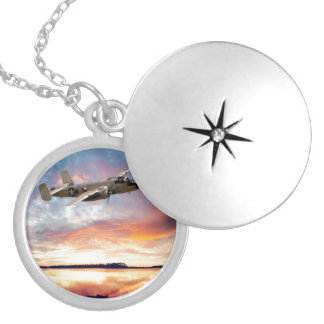 B-25 Mitchell Silver Plated Necklace