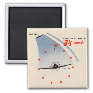 B-29 Gunner 3 1/2 Seconds to Attack 2 Inch Square Magnet