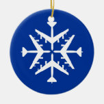 B-52 Aircraft Snowflake Double-Sided Ceramic Round Christmas Ornament