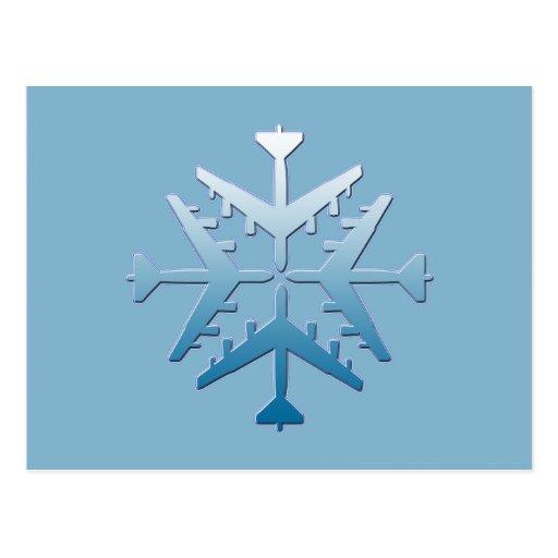 B-52 Aircraft Snowflake Postcard