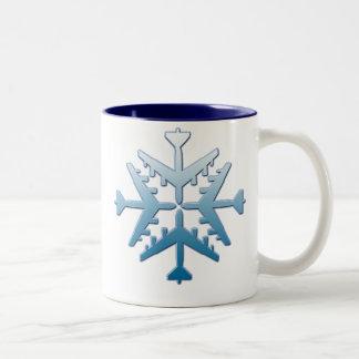 B-52 Aircraft Snowflake Two-Tone Coffee Mug