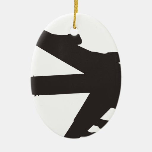B-52 Bomber Double-Sided Oval Ceramic Christmas Ornament