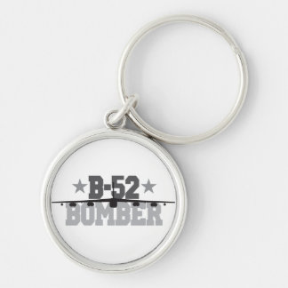 B-52 Bomber Silver-Colored Round Keychain