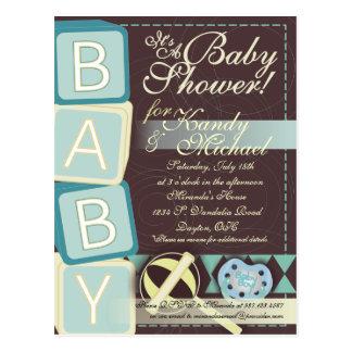 B-A-B-Y Baby Boy Shower Invitation Postcard