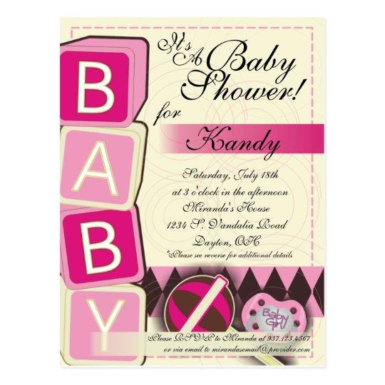 B-A-B-Y Baby Girl Shower Invitation Postcard