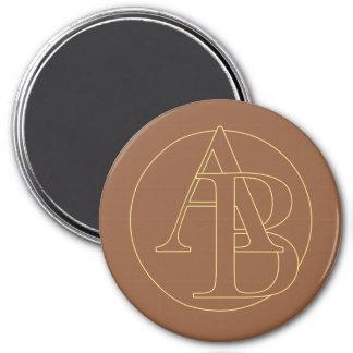 """""""B&A"""" su monograma en """"heló color del café"""" Imán Redondo 7 Cm"""