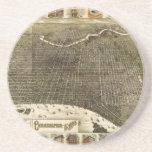 B and M Birdseye Map of Philadelphia (1885) Beverage Coaster