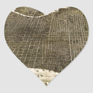 B and M Birdseye Map of Philadelphia (1885) Heart Sticker