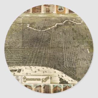 B and M Birdseye Map of Philadelphia (1885).jpg Classic Round Sticker