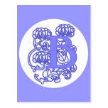 """""""B"""" Art Nouveau Floral Monogram Post Cards"""