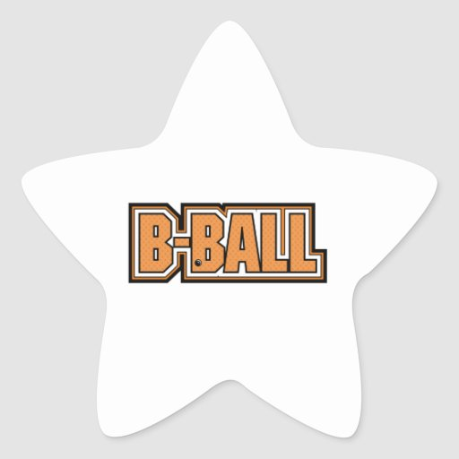 b-ball basketball text design star sticker