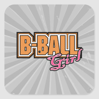 b-ball girl basketball design square sticker