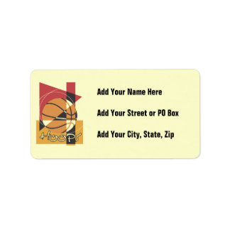 B-Ball Hoops T-shirts and Gifts Address Label