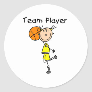 B-Ball Team Player Classic Round Sticker