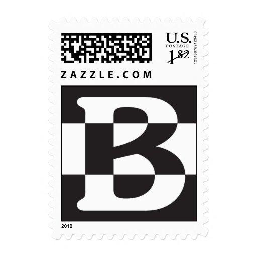 B Black and White Stamp