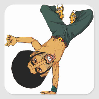 B-boy Afro man Square Sticker