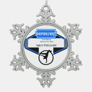 B Boy Black Blue Represent Customize Logo Snowflake Pewter Christmas Ornament