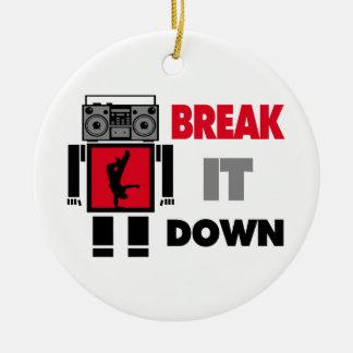 B Boy Boombox Robot Break It Down Ceramic Ornament