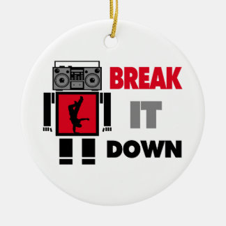 B Boy Boombox Robot Break It Down Double-Sided Ceramic Round Christmas Ornament