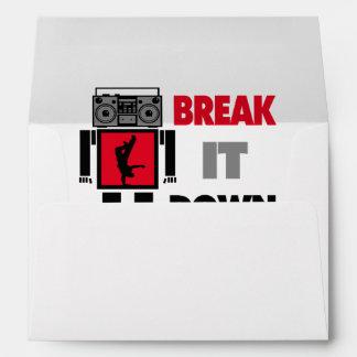 B Boy Boombox Robot Break It Down Envelope