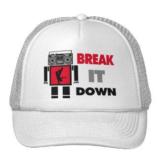 B Boy Boombox Robot Break It Down Mesh Hat