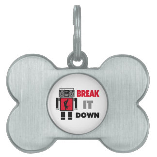 B Boy Boombox Robot Break It Down Pet Name Tag