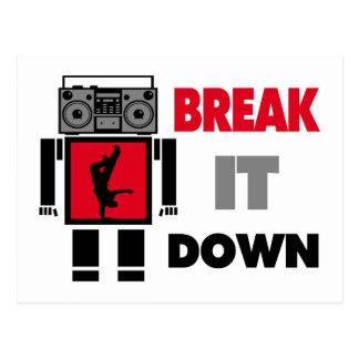 B Boy Boombox Robot Break It Down Postcard
