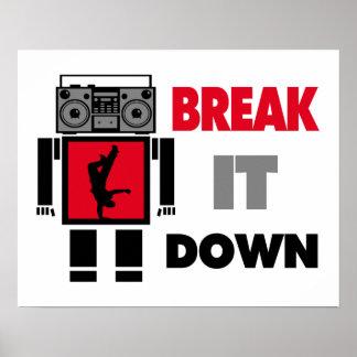 B Boy Boombox Robot Break It Down Poster