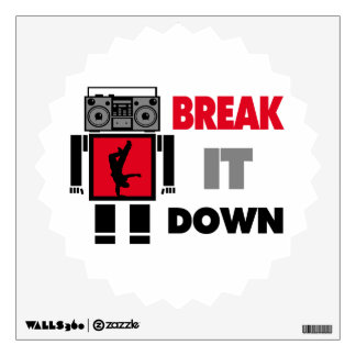 B Boy Boombox Robot Break It Down Wall Decal