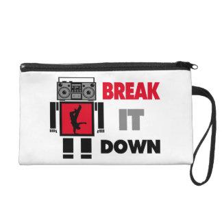 B Boy Boombox Robot Break It Down Wristlet Purse