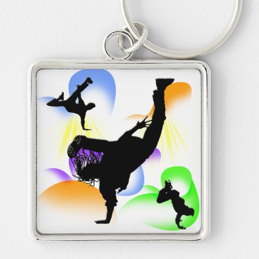 B-boying Silver-Colored Square Keychain