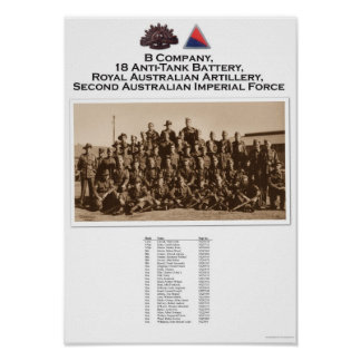 B Company, 18 Anti Tank Battery RAA Portrait Poster