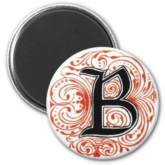 ` B del monograma' en el rojo - imán