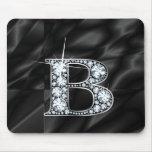 "B ""diamante Bling"" en Mousepad negro Alfombrilla De Ratones"