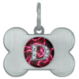 "B ""diamante Bling "" Placa De Nombre De Mascota"